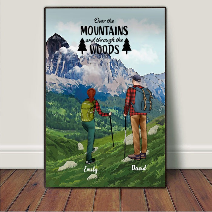 Personalized Poster Gift for couples, hiking lovers - Hiking Couple Poster - Over the mountains and through the woods