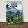 Personalized Dog & Owners Poster Gift idea for dog dad, hiking lovers - Man & 2 Dogs Hiking Poster - Let's go hiking