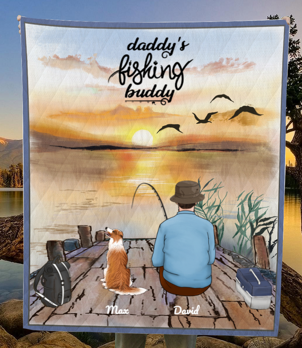 Custom pet blanket, personalized Father's day gift for dog dad, cat dad - Dad & 1 Pet Fishing Quilt Blanket - Daddy's fishing buddy