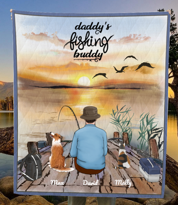 Custom pet blanket, personalized Father's day gift for dog dad, cat dad - Dad & 2 Pets Fishing Quilt Blanket - Daddy's fishing buddy