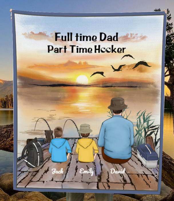 Personalized Blanket Gift Idea For Dad, Single Dad - Custom Fishing Fleece Blanket - Dad & 2 Kids - Let's go fishing