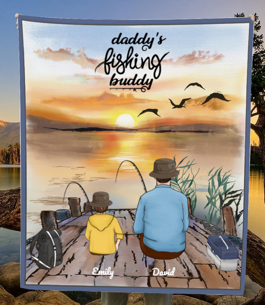 Personalized Blanket Gift Idea For Dad, Single Dad - Custom Fishing Fleece Blanket - Dad & 1 Kid - Daddy's fishing buddy