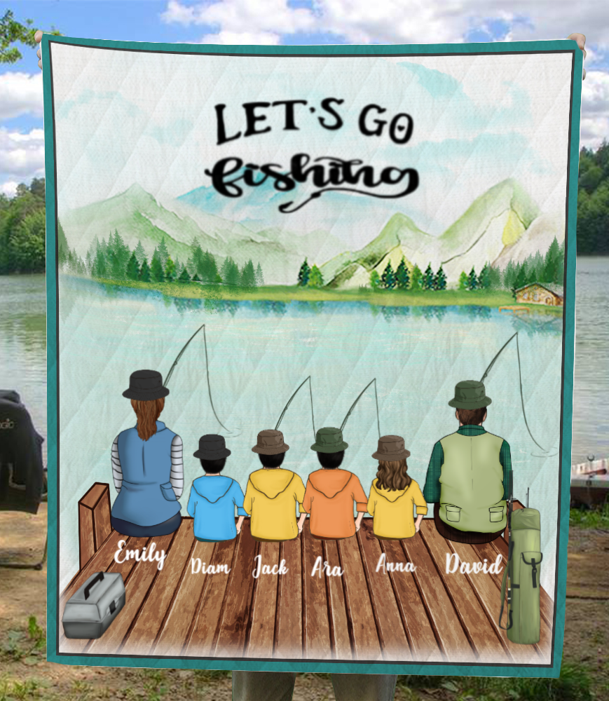 Personalized gifts for the whole family blanket - Parents & 4 Kids - Fishing family quilt blanket V5- Let's go fishing