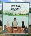 Personalized Dog & Owners Fishing Blanket Gift idea for the dog dad, fishing lovers - Man & 2 Dogs Fishing Quilt Blanket - Let's go fishing