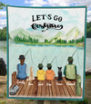 Custom Personalized Family Quilt Blanket, Gift Idea For The Whole Family, Fishing Lovers - Family With Kids And Dogs - Full Option