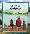 Personalized dog & owners fishing blanket Father's Day gift for dog dad, fishing lovers - Dad & 1 Dog Quilt Blanket - Let's go fishing
