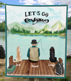 Personalized Dog & Owners Fishing Blanket Gift idea for dog dad, fishing lovers - Man & 2 Dogs Fishing Fleece Blanket - Let's go fishing