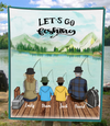 Personalized gifts for the whole family blanket - Parents & 2 Kids - Fishing family fleece blanket V5 - Let's go fishing