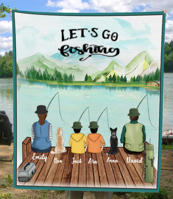 Personalized Dog & Owners fishing blanket gift idea for the whole family, dog lovers - Parents, Kids & Dogs Fishing Fleece Blanket - Full Option - Father's day gift - Mother's day gift from husband to wife