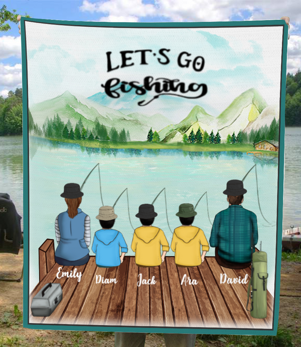 Personalized gifts for the whole family blanket - Parents & 3 Kids - Fishing family fleece blanket V5 - Let's go fishing