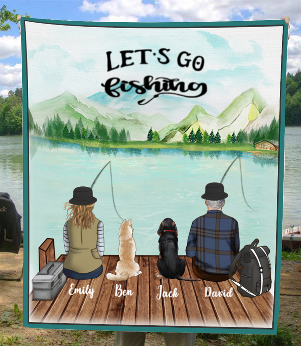Personalized Dog & Owners Fishing Blanket Gift idea for the whole family, dog lovers - 2 Dogs & Couple Fleece Blanket - Let's go fishing
