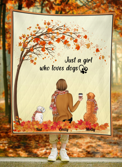 Custom Dog Blanket - Dog Mom and 2 Dogs - Personalized Dog Quilt Blanket Gift For Dog Lovers - Just a girl who loves dogs