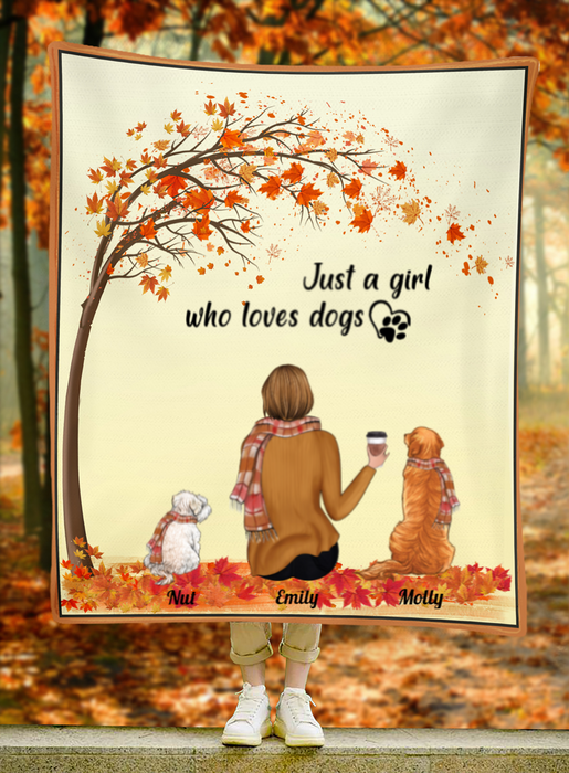 Custom Dog Blanket - Dog Mom and 2 Dogs - Personalized Dog Fleece Blanket Gift For Dog Lovers - Just a girl who loves dogs - Dog mom in the Autumn