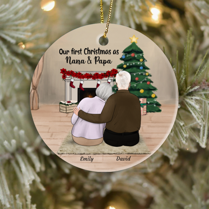 Personalized Grandparents Ornament - Personalized Christmas Gift for Grandparents & Upto 2 Pets - Our first Christmas as Nana and Papa
