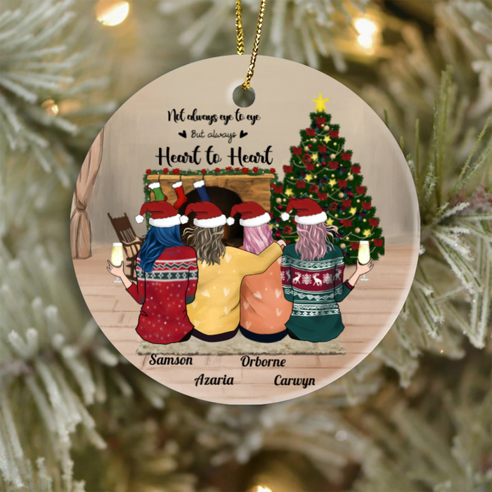 Personalized Best Friend Christmas Gift Idea Ornament - BFF Ornament with 4 Besties - Not always eye to eye but always heart to heart
