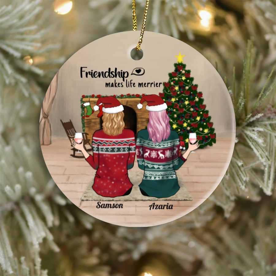 Personalized Best Friend Christmas Gift Idea Ornament - BFF Ornament with 2 Besties, Friendship makes life merrier