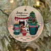 Personalized Christmas Ornament, Gift For The Whole Family - Parents with 1 kid and 2 Pets - Jesus is the reason for the season
