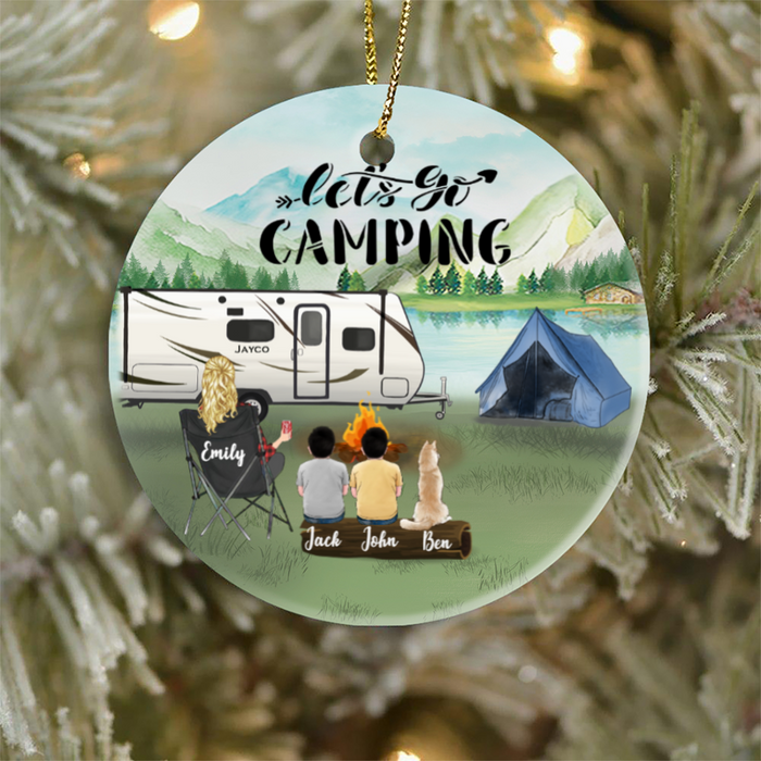 Personalized Camping Ornament Gifts For Single Mom, Dog Cat Lovers - Single Mom, 2 Kids & 1 Dog Or Cat Ornament - Let's Go Camping