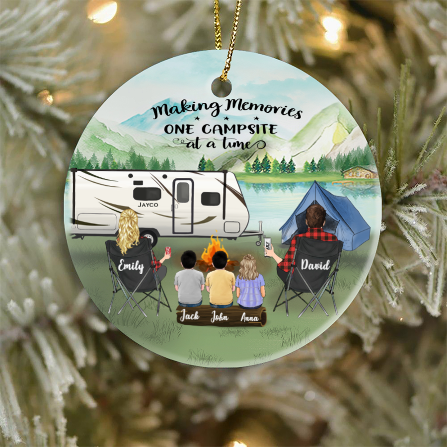 Personalized Family Christmas Ornaments gifts for the whole family, camping lovers - Parents & 3 Kids Family Ornament - Making memories one campsite at a time
