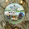 Personalized Family Christmas Ornaments gifts for the whole family, cat dog lovers - Parents, 2 Kids & 1 Pet - Camping family Ornament