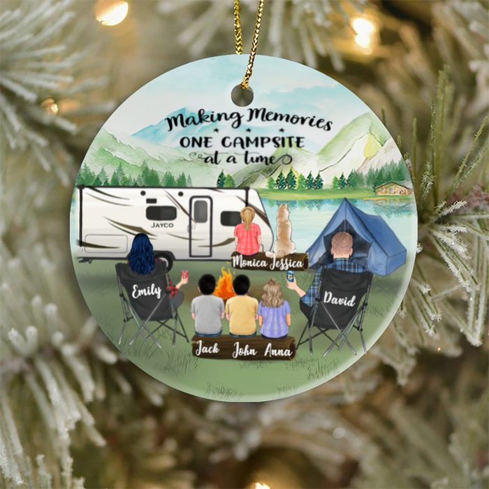 Personalized Family Christmas Ornaments Gifts For The Whole Family, Camping Lovers,Cat Dog Lovers - Parents With 4 Kids And 1 Pet Family Ornament - Making Memories One Campsite At A Time