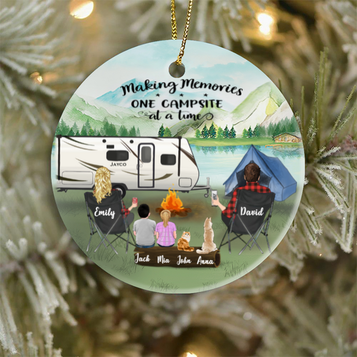 Personalized Family Christmas Ornaments gifts for the whole family, cat dog lovers - Parents, 2 Kids & 2 Pets - Camping Ornament - Making memories one campsite at a time