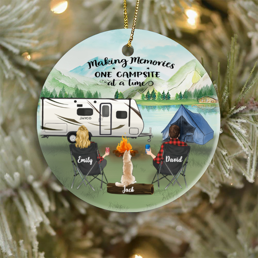 Personalized Christmas Ornament gifts for dog cat lovers - Couple & 1 Pet Camping Ornament - Making memories one campsite at a time