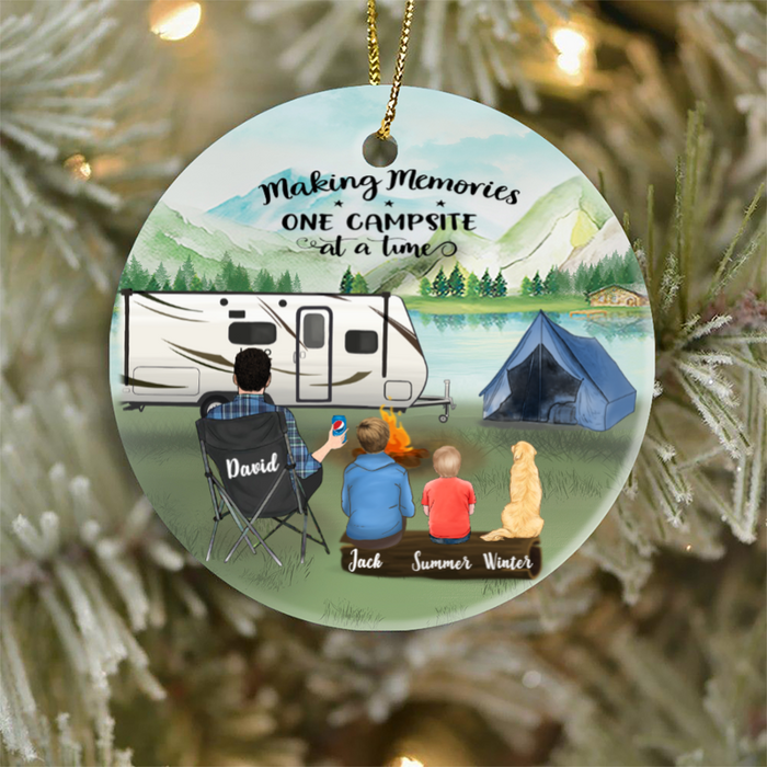 Personalized Single Dad Ornament Gifts For The Whole Family, Camping Lovers - Single Dad, 1 Teen, 1 Kid And 1 Dog Or Cat - Making Memories One Campsite At A Time