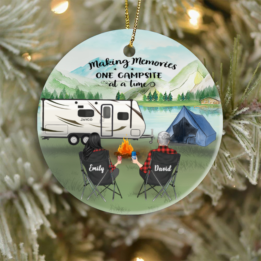 Personalized Couple Christmas Ornament, Gift idea for couples, Camping lovers - Couple Camping Ornament