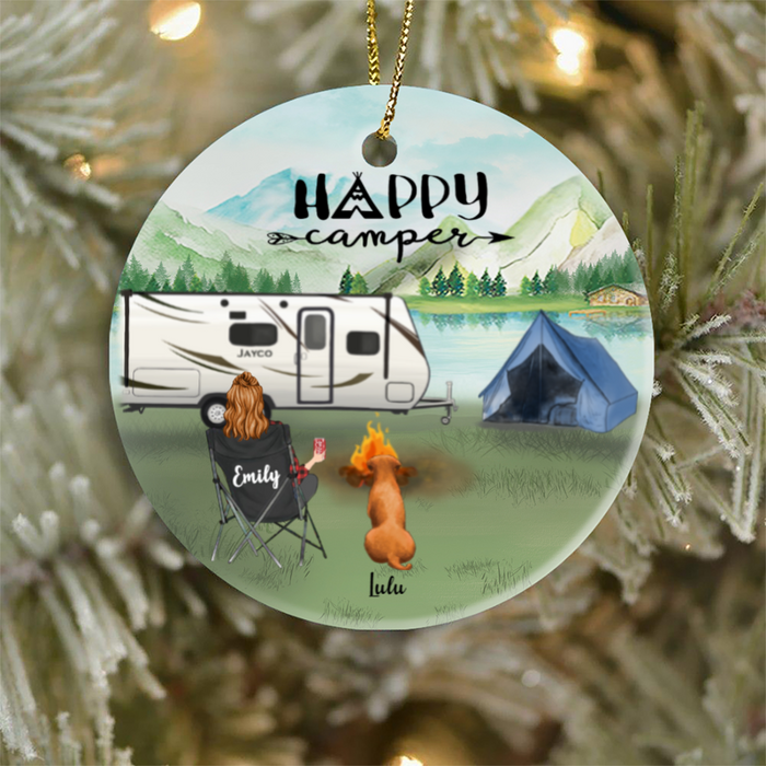 Personalized Pet Ornament Gift For Cat Dog Mom, Cat Dog Lovers  - Mom & 1 Pet Ornament - Happy Camper