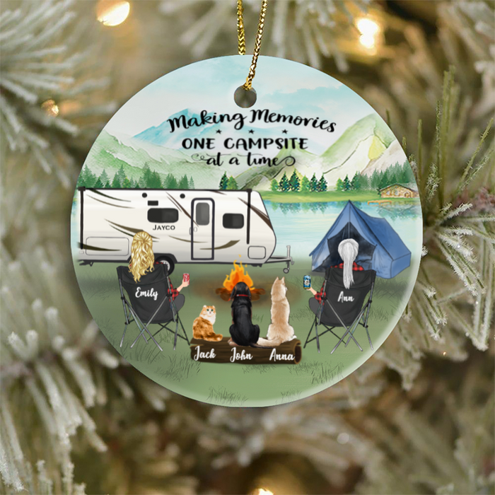 Personalized Gift For Same Sex Couple - Personalized Camping Ornament - Two Women With 3 Pets - Making Memories One Campsite At A Time