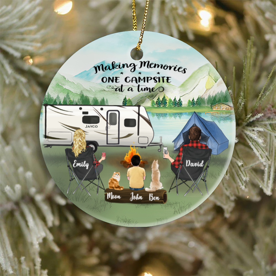 Personalized Family Christmas Ornaments gifts for the whole family, cat dog lovers - Parents, Kid & Pet - Camping family Ornament Full option
