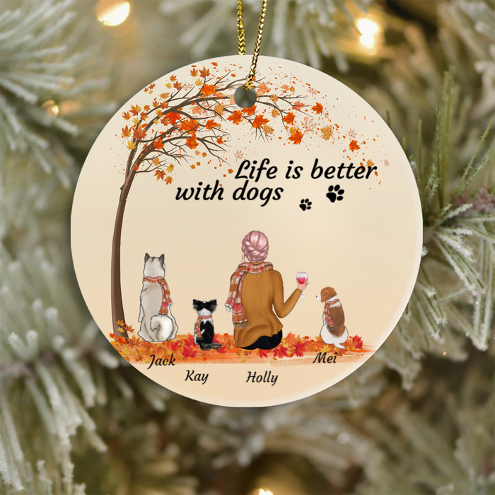 Personalized dog Christmas Ornament gifts for dog lovers - Dog Mom Ornament - 3 Dogs & Mom - Life is better with Dogs