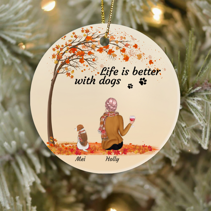 Personalized dog Christmas Ornament gifts for dog lovers - Dog Mom Ornament - Upto 3 Dogs & Mom - Life is better with Dogs