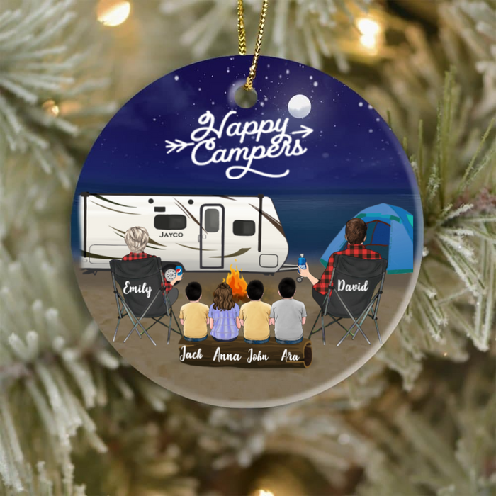 Personalized Family Christmas Ornaments gifts for the whole family, camping lovers - Parents & 4 Kids Night Beach Camping family  Ornament - Happy Campers