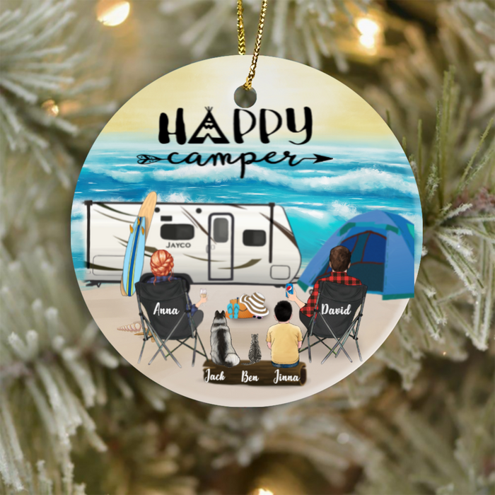 Personalized Family Christmas Ornaments gifts for the whole family, cat dog lovers - Parents, 1 Kid & 2 Pets - Family Beach Camping Ornament - Happy Camper