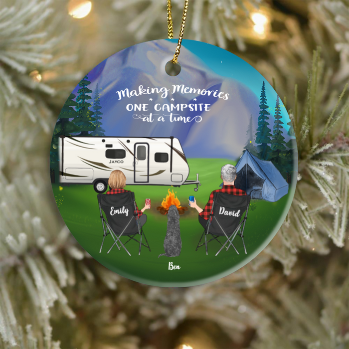 Personalized Family Christmas Ornament gifts for dog cat lovers, the whole family - Couple & 1 Pet Night Mountain Camping Ornament
