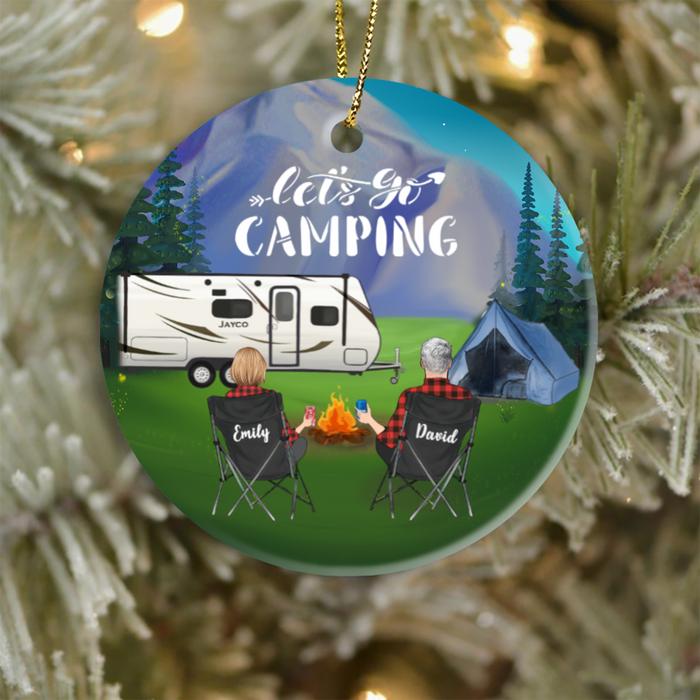 Personalized Family Christmas Ornaments gifts for the whole family, cat dog lovers - UP TO 6 PEOPLE & PETS mountain camping ornament - Let's go camping