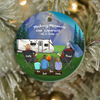 Personalized Family Christmas Ornaments gifts for the whole family, cat dog lovers - Parents, 3 Kids & 1 Pet Night Mountain Camping Ornament