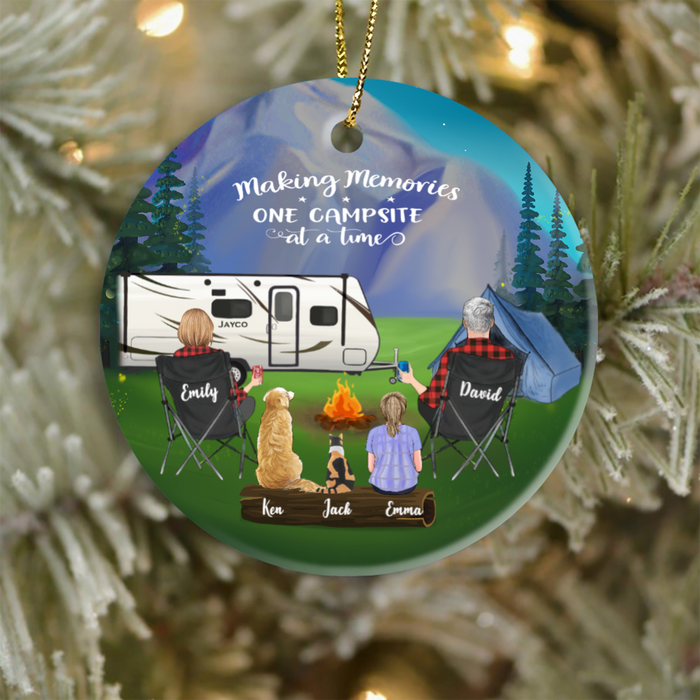 Personalized Family Christmas Ornament gift for the whole family, cat dog lovers - Parents, 1 Kid & 2 Pets Camping Ornament - Making memories one campsite at a time