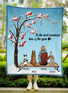 Custom Dog Blanket - Personalized Gift For Dog Mom - 3 Dogs & Mom Quilt Blanket - It's the most wonderful time of the year