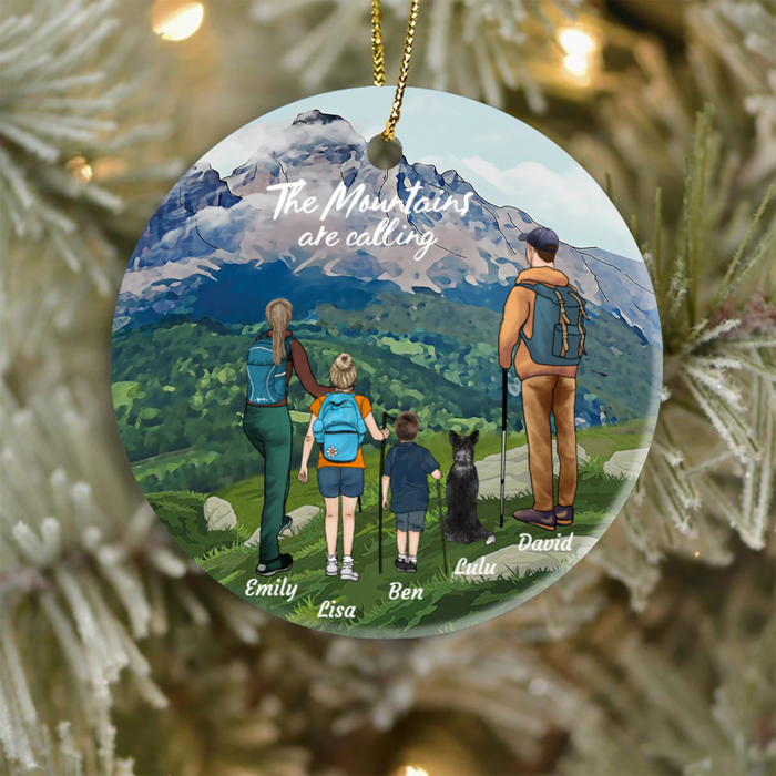 Personalized Family Christmas Ornament gift for the whole family, cat dog lovers - Parents, 2 Kids & 2 Pets Hiking Ornament - The mountains are calling