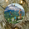 Personalized Family and Pet Christmas Ornaments gifts for the whole family, cat dog lovers - Parents, Kid & 2 Pets - Hiking Ornament - The mountains are calling
