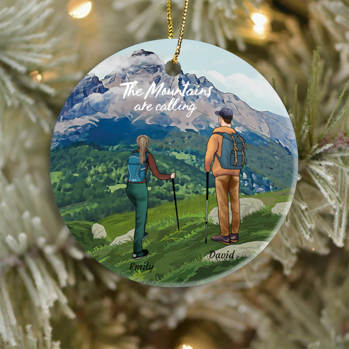 Personalized Couples Christmas Ornament, Gift idea for couples, Hiking lovers - Couple Hiking Ornament -  The mountains are calling