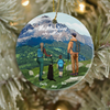Personalized Family Christmas Ornaments gifts for the whole family, cat dog lovers - Parents, Kid & Pet - Hiking family - The mountains are calling