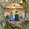 Personalized Couples Christmas Ornament, Gift idea for couples, Fishing lovers - Couple Fishing Ornament -  Life is better at a lake