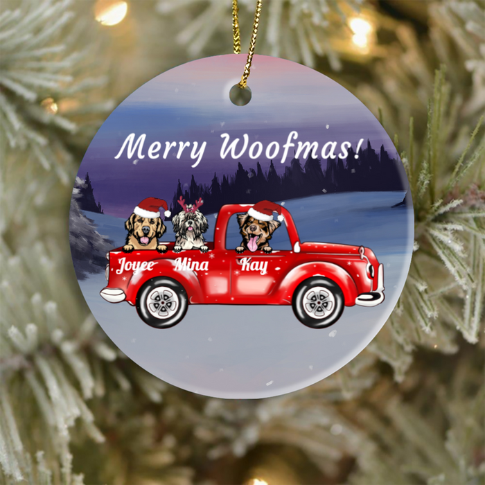 Personalized Ornament for Dog Lovers - Christmas Gift for Dog Lovers - Upto 3 Dogs In Car - Merry Woofmas