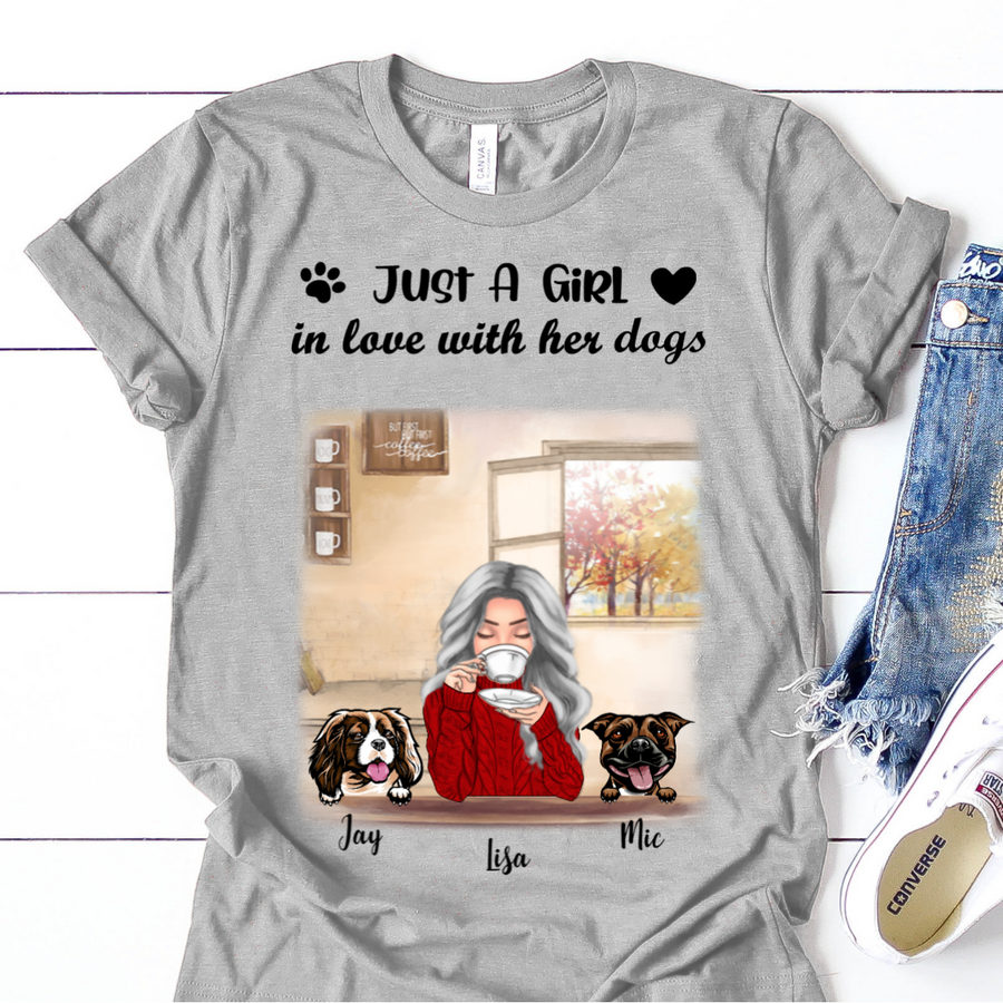 Personalized Mother's Day Gift For Dog Mom - Mom With 2 Dogs Personalized T-shirt - Up To 3 Dogs - Just A Girl In Love With Her Dogs