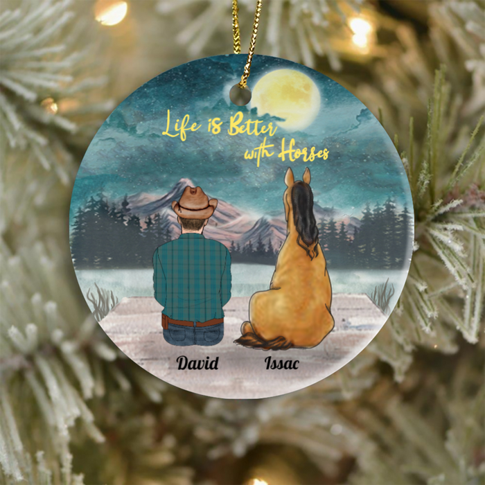Personalized Horse Christmas ornament, Gift Idea for Horse Lovers - Horse & Dad Ornament - Life is better with horses