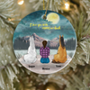 Personalized Horse Christmas ornament, Gift Idea for Horse Lovers - 2 Horses & Mom Ornament - I love you to the moon and back